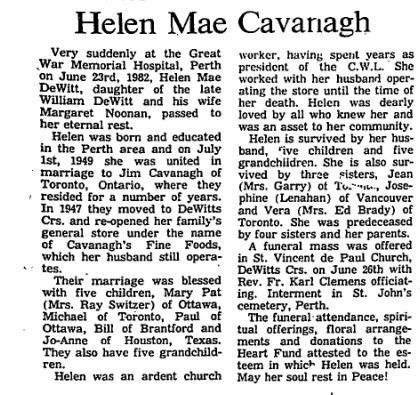 Helen Cavanagh Aug 4 1982 p 22