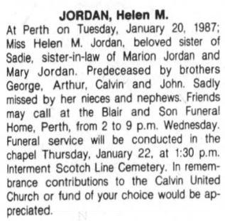 Helen Jordan obit 1987