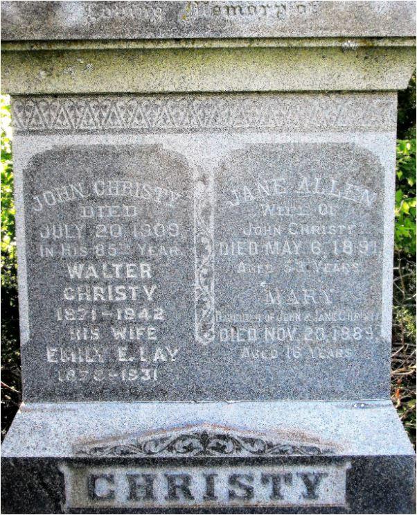 John Christy Jane Allen gravestone