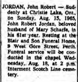 John Robert Jordan obit 1965