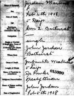 Martena Jordan 1908 death cert.