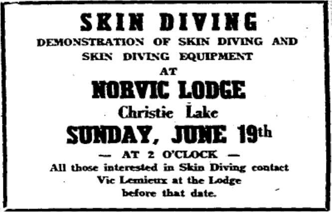 Norvic Lodge skin diving