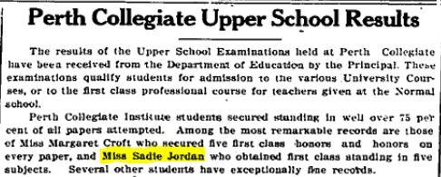Sadie Jordan academic achievement