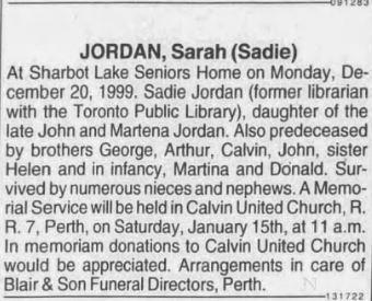 Sadie Jordan obit