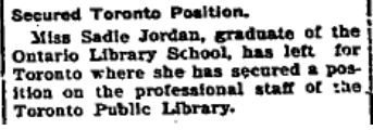 Sadie Jordan Toronto Library