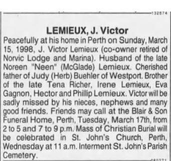 Victor Lemieux obit Mar 17 1998 Ottawa Citizen p 24