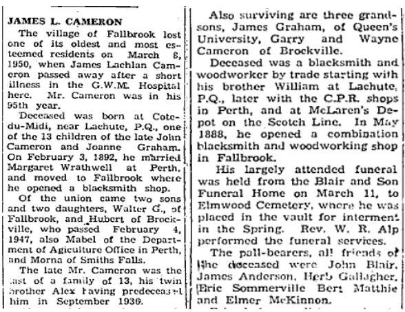 James Lachlan Cameron obit 1950