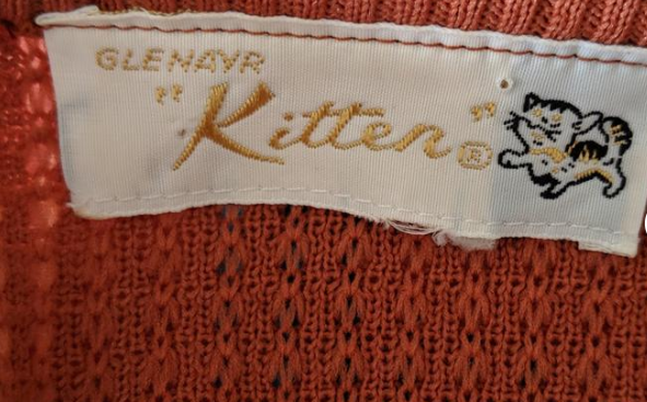 kitten 1960s orange sweater tag
