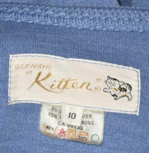 kitten suit 1970s tag