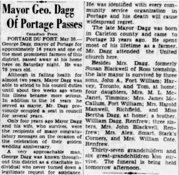 George Dagg obit May 30 1938 Ottawa Citizen