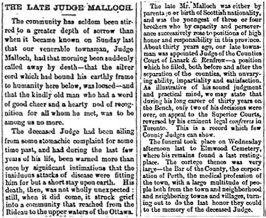 Judge Malloch 1873 Dec 12 Perth Courier