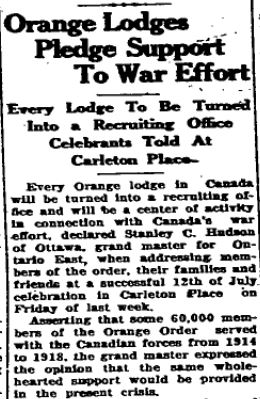 orange lodge war efforts 1940