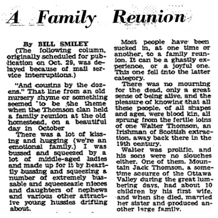Family Reunion column by Bill Smiley
