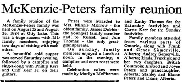 McKenzie Peters families